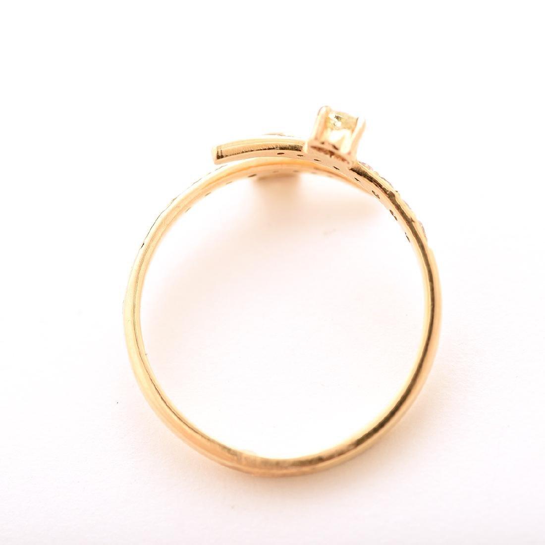 Diamond, 18k Yellow Gold Bypass Ring. - 3