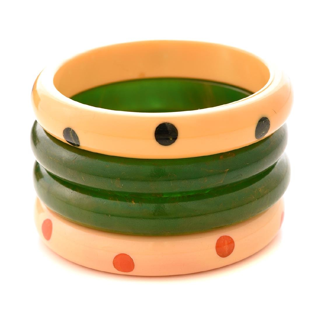 Collection of Two Pairs of Bakelite Bracelets.