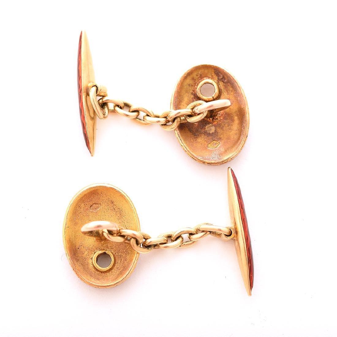 Pair of Hungarian Enamel, 14k Yellow Gold Cufflinks. - 4