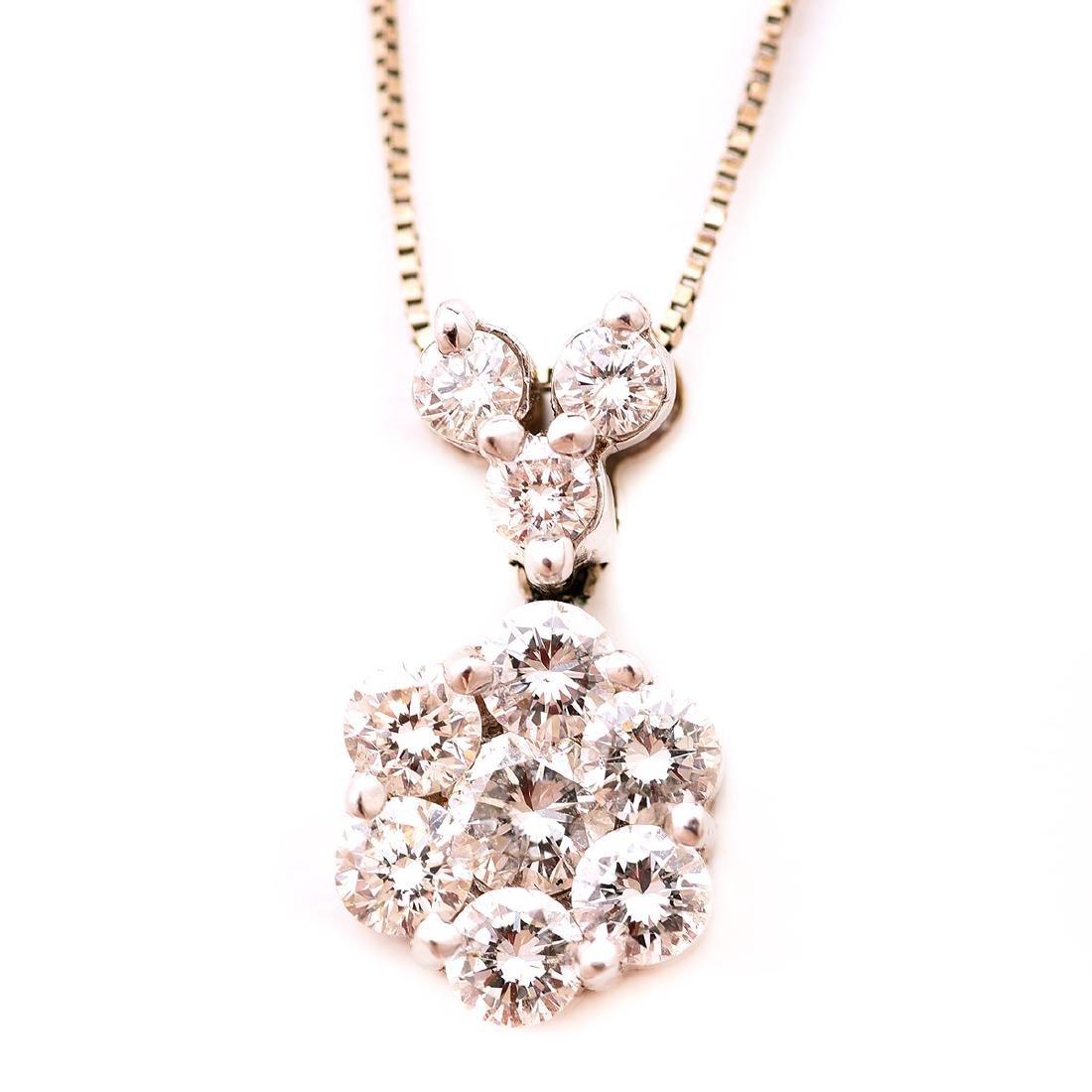 Diamond, 14k White Gold Pendant Necklace.