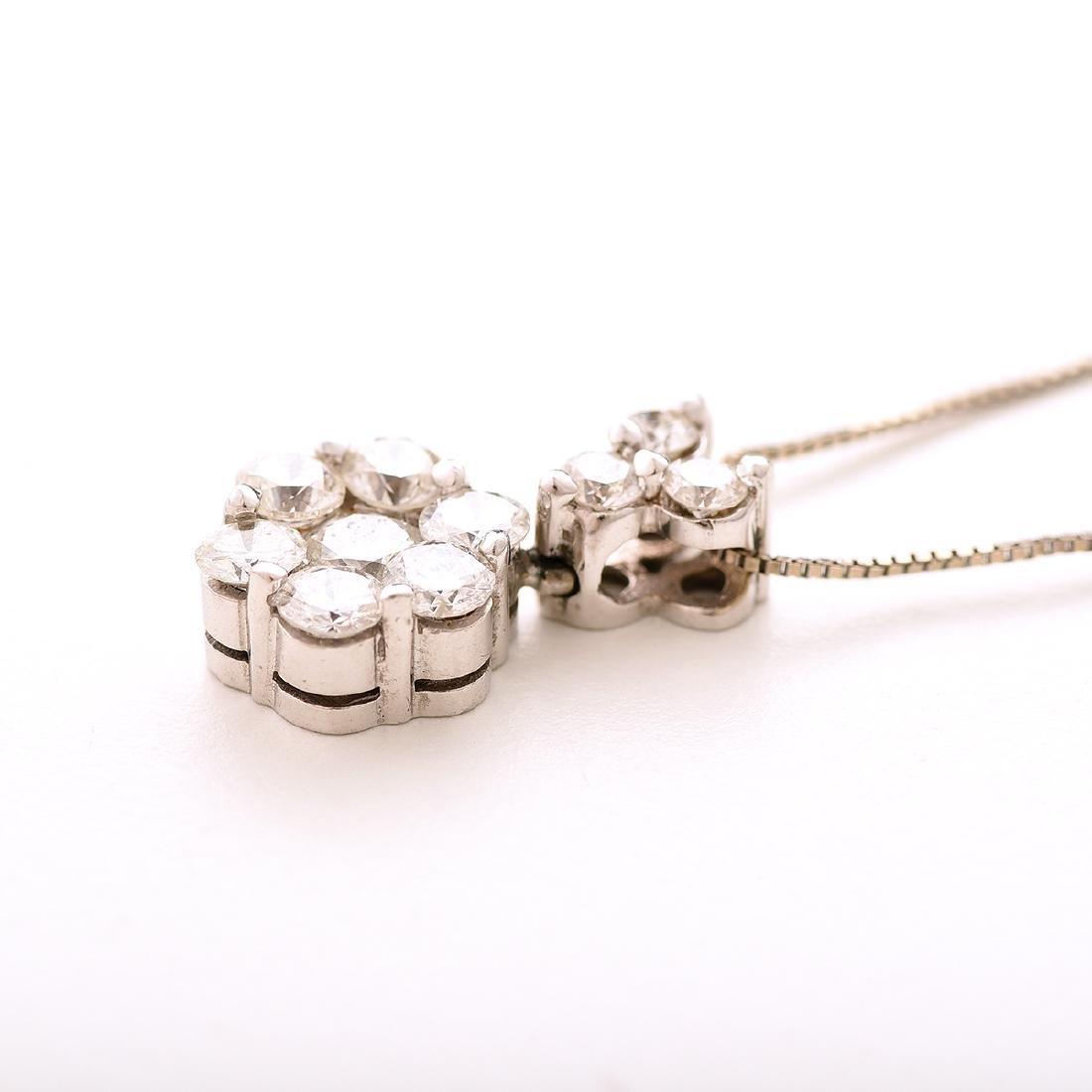 Diamond, 14k White Gold Pendant Necklace. - 2
