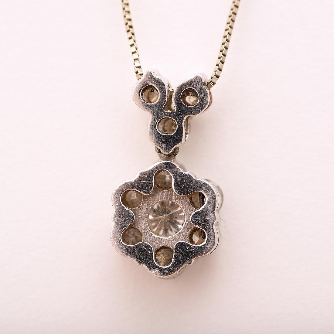 Diamond, 14k White Gold Pendant Necklace. - 3