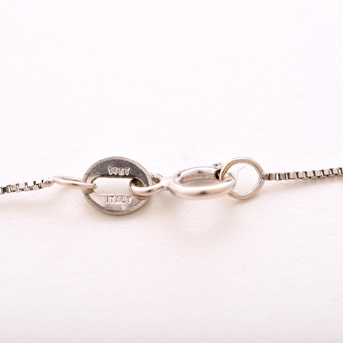 Diamond, 14k White Gold Pendant Necklace. - 4