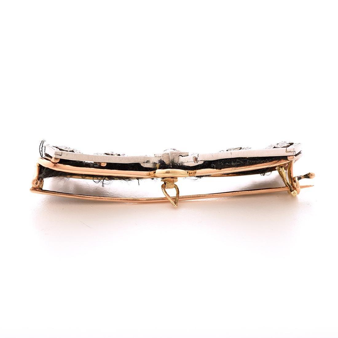 Vintage Diamond, Platinum, 14k Yellow Gold Bow Brooch. - 3