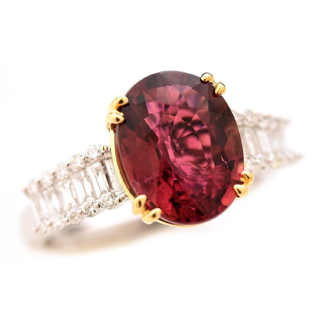 Tourmaline, Diamond, 14k Gold Ring.