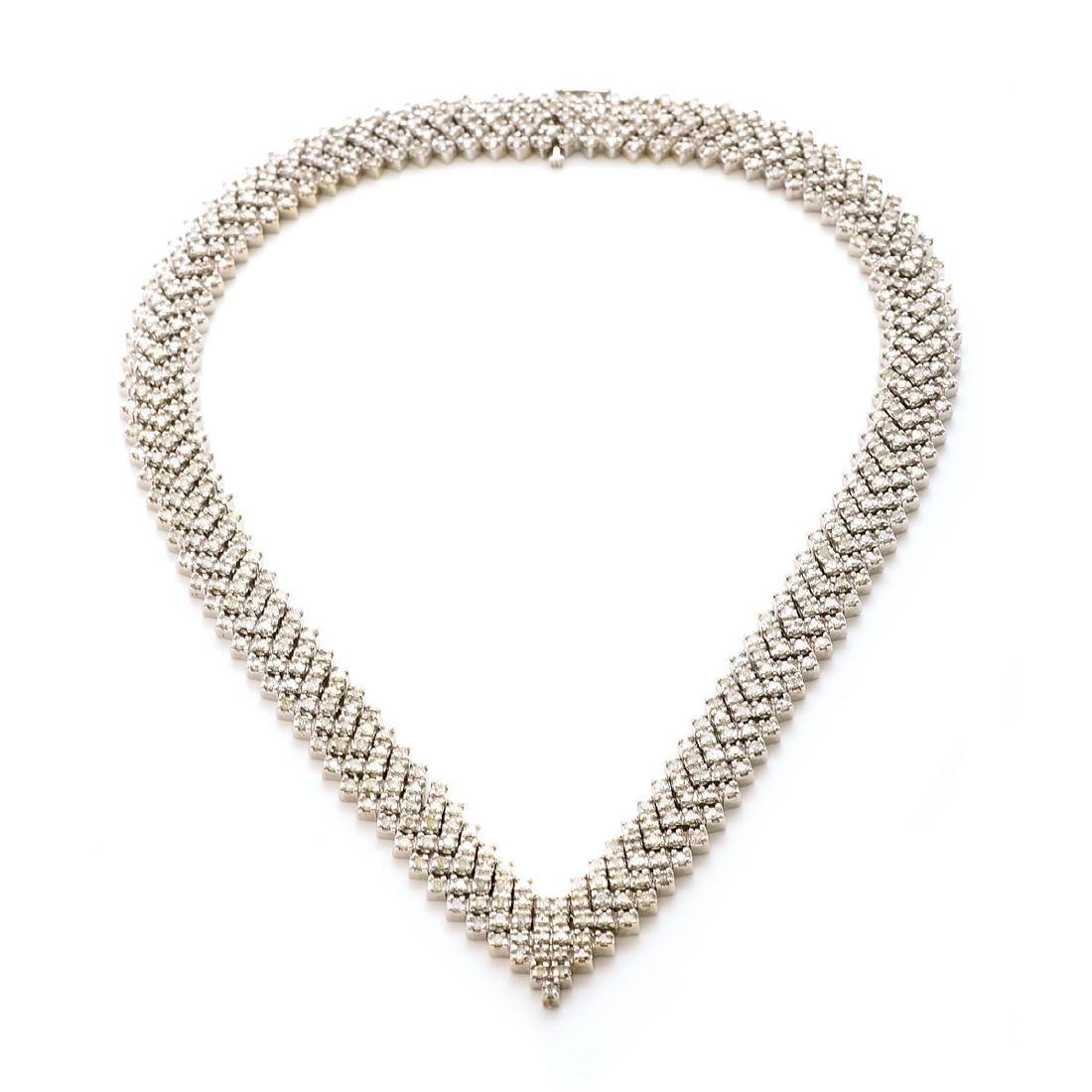 "Diamond, 14k White Gold ""V"" Necklace."