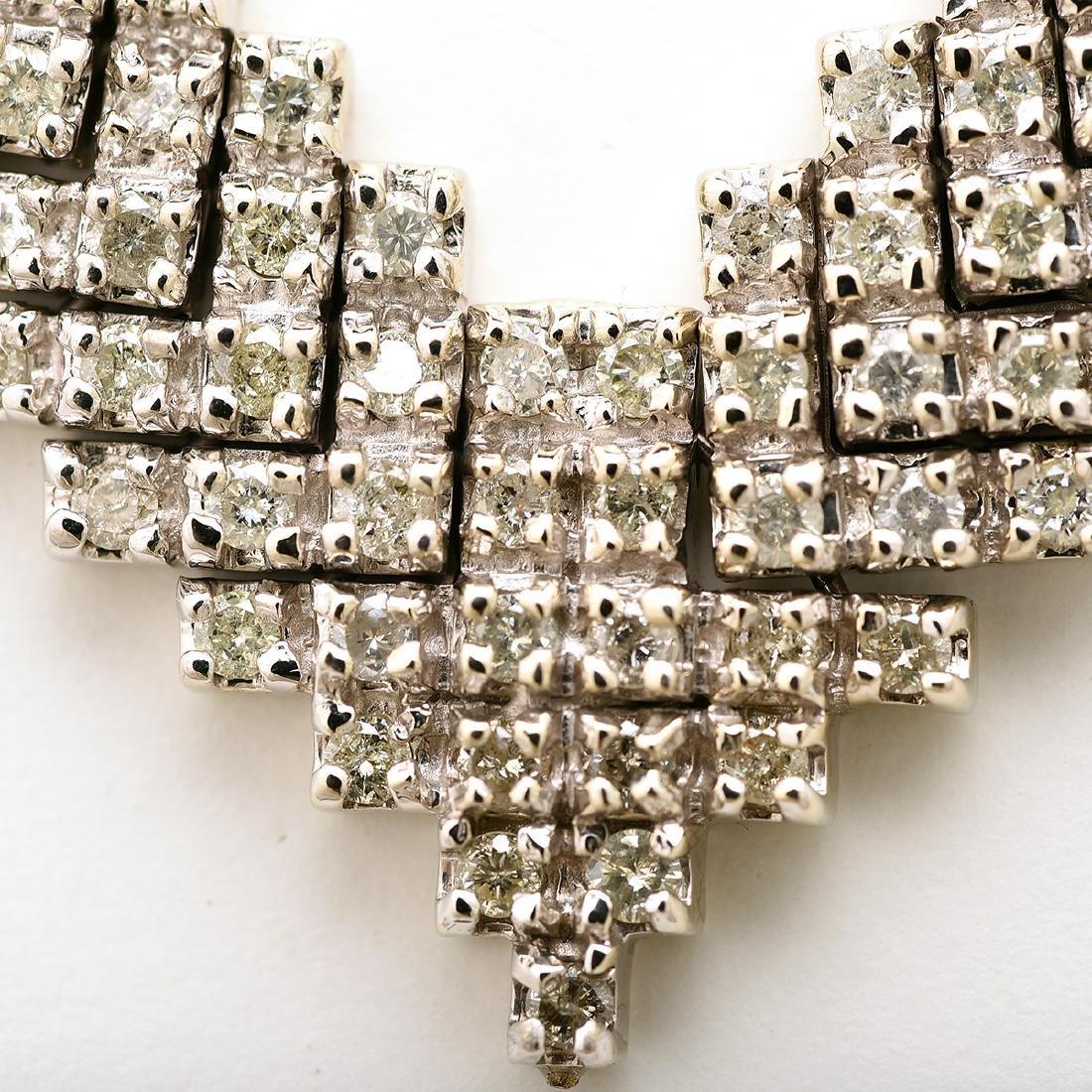 "Diamond, 14k White Gold ""V"" Necklace. - 2"