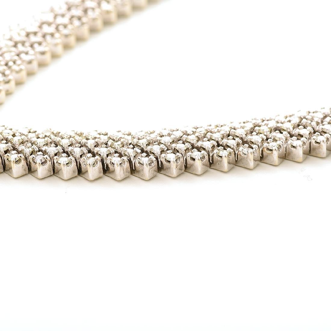 "Diamond, 14k White Gold ""V"" Necklace. - 3"