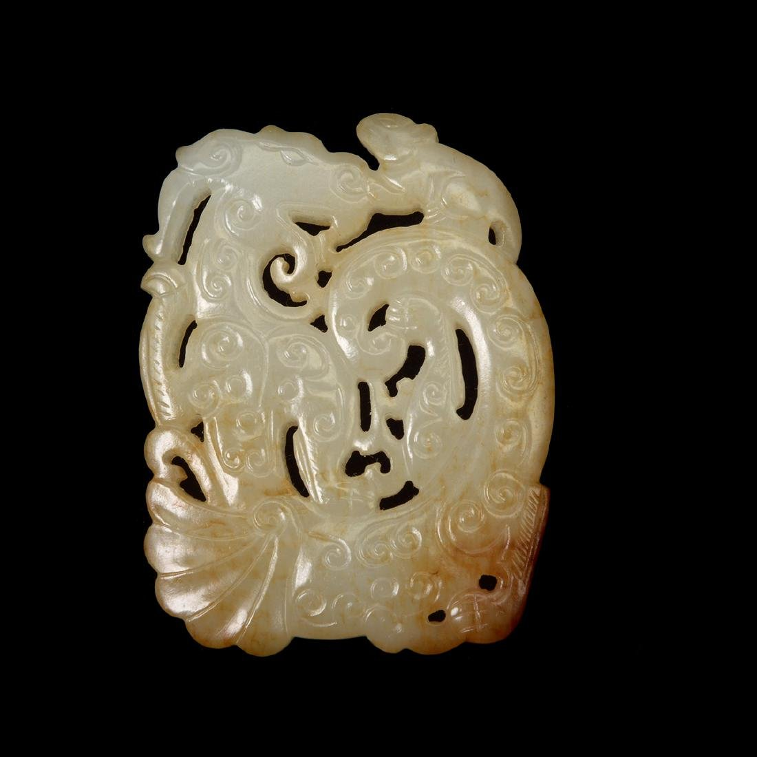 Two Russet Jade 'Dragon' Pendants - 3