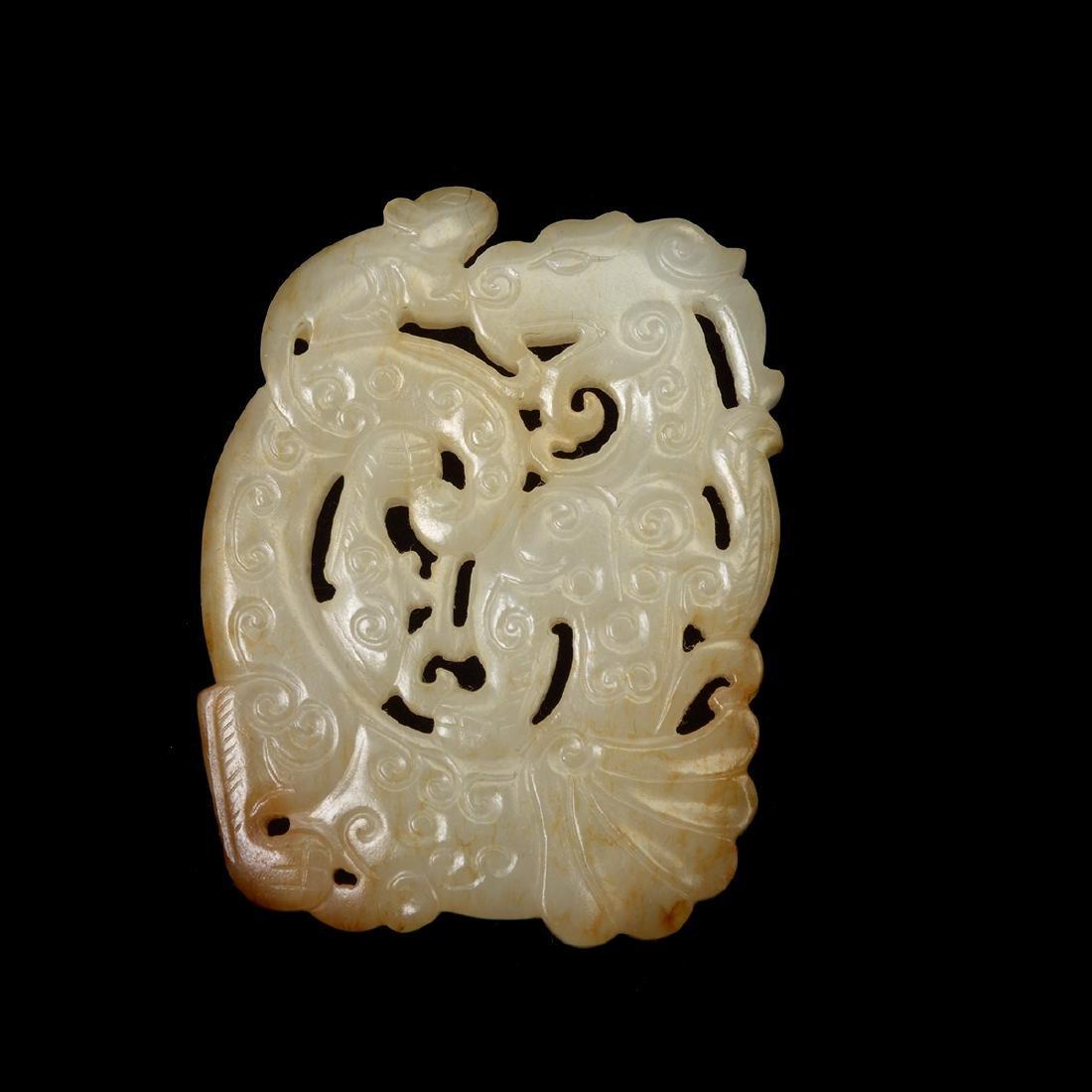 Two Russet Jade 'Dragon' Pendants - 5