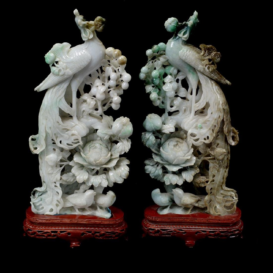 Mirrored Pair of Jadeite Phoenix Carvings