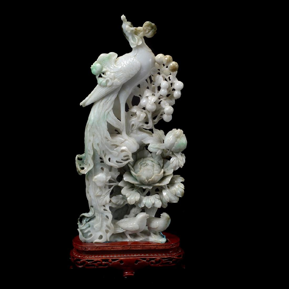 Mirrored Pair of Jadeite Phoenix Carvings - 2