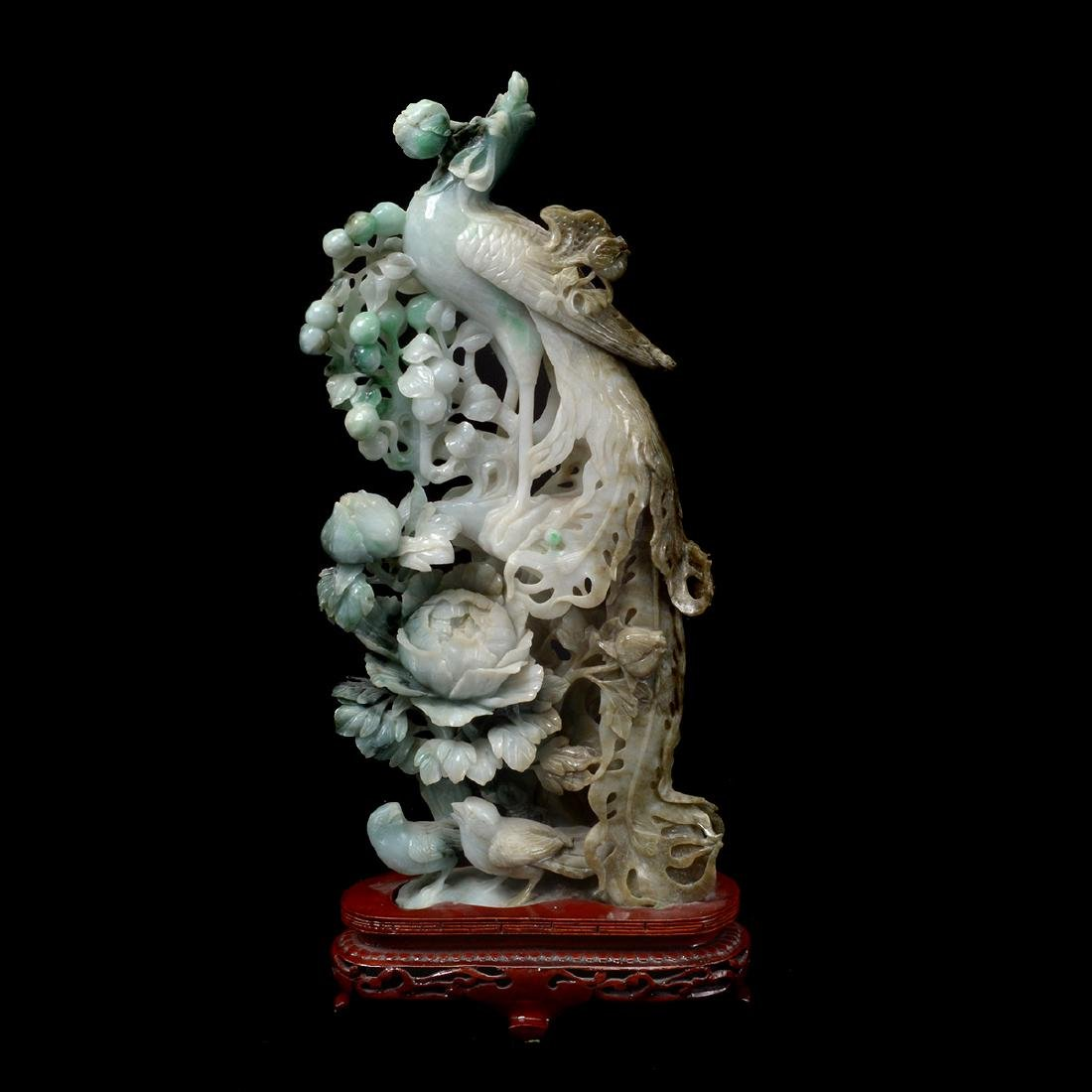 Mirrored Pair of Jadeite Phoenix Carvings - 3