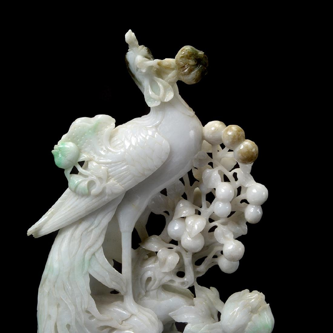 Mirrored Pair of Jadeite Phoenix Carvings - 4