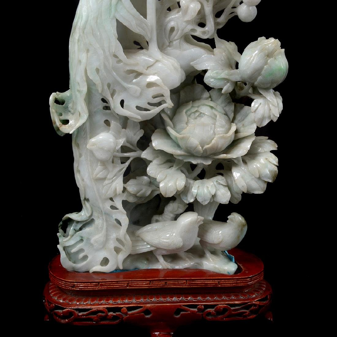 Mirrored Pair of Jadeite Phoenix Carvings - 6
