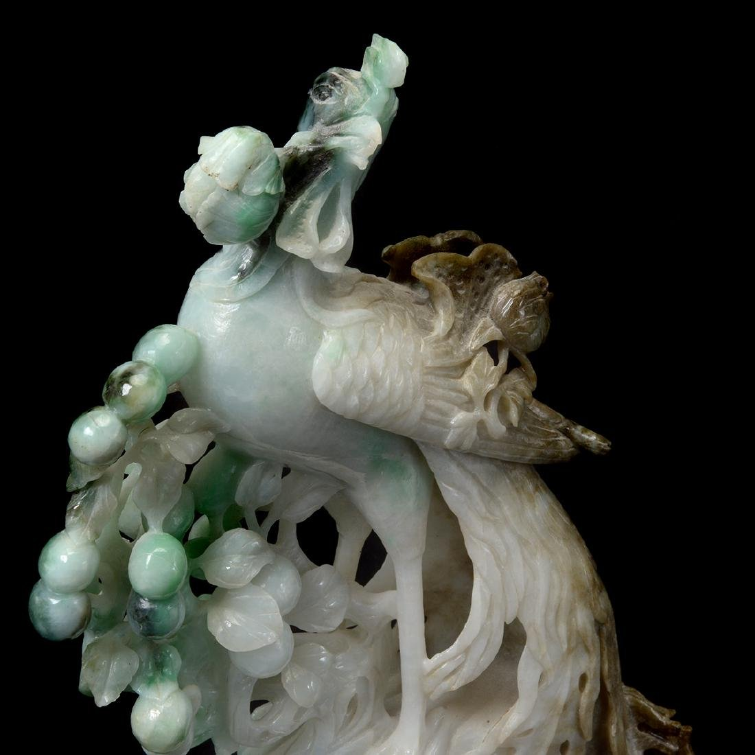 Mirrored Pair of Jadeite Phoenix Carvings - 8