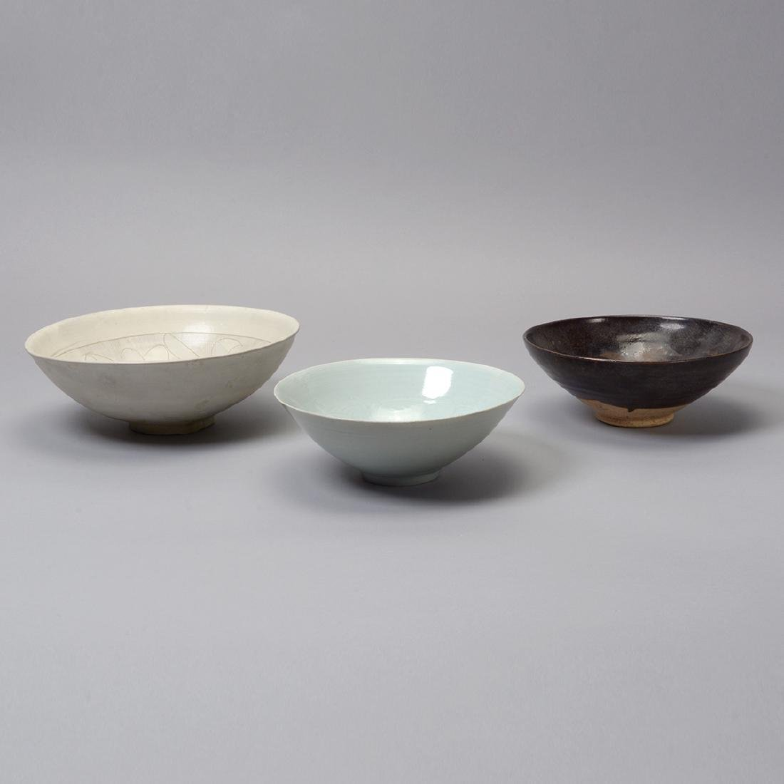 Three Glazed Ceramic Deep Bowls, Song Dynasty