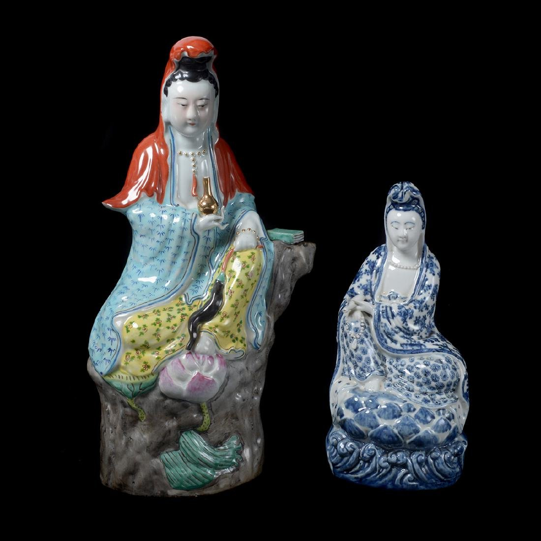 Two Guanyin Porcelain Figures, Republic