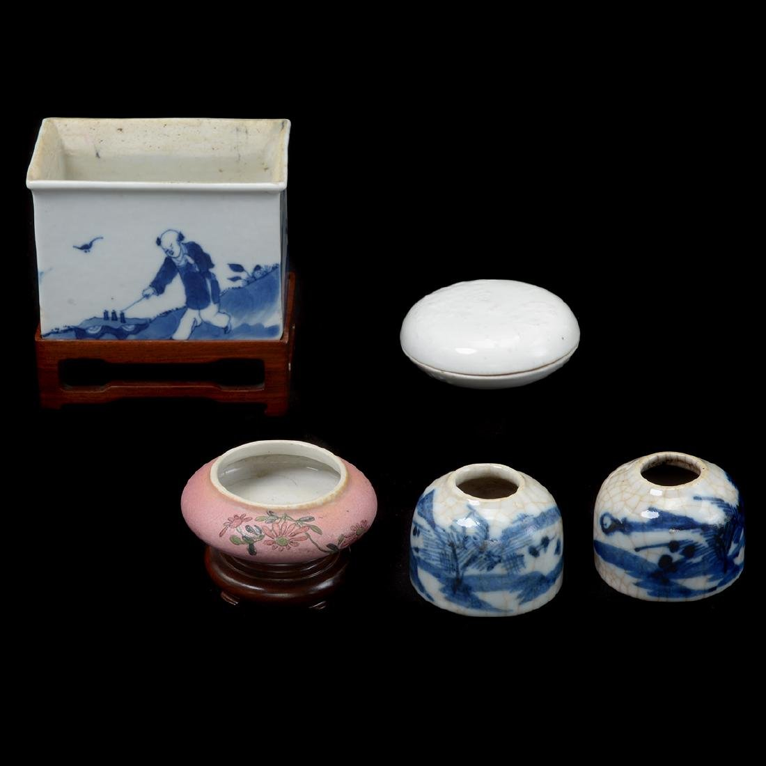 Five Porcelain Scholar's Objects, Late Qing Dynasty
