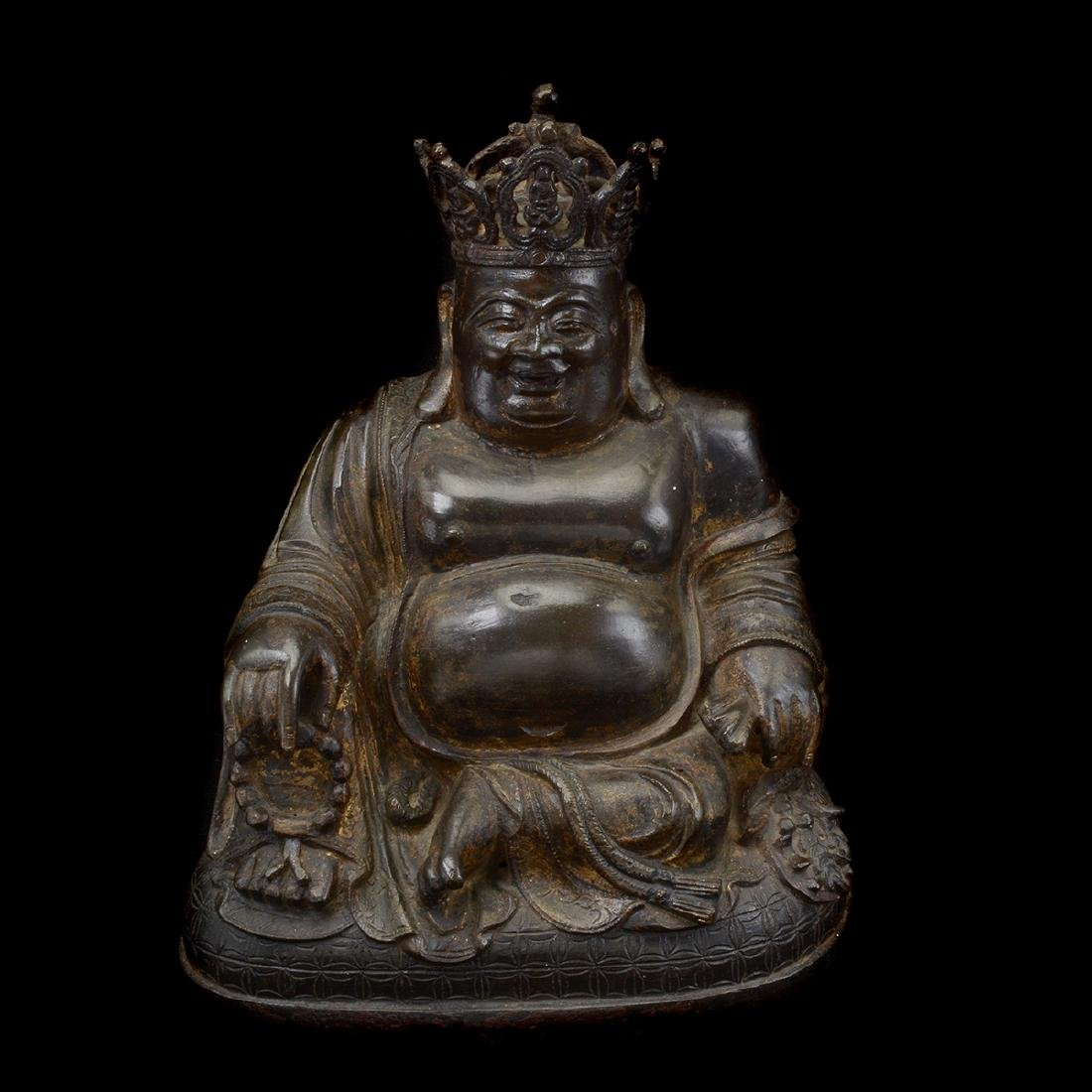 Bronze Figure of The Crowned Budai, Ming Dynasty