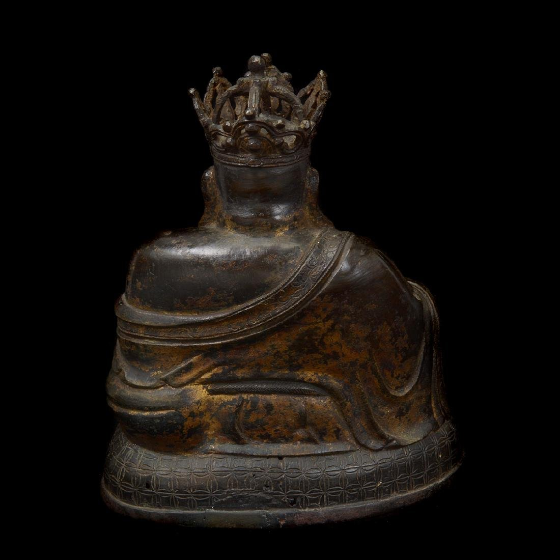 Bronze Figure of The Crowned Budai, Ming Dynasty - 3