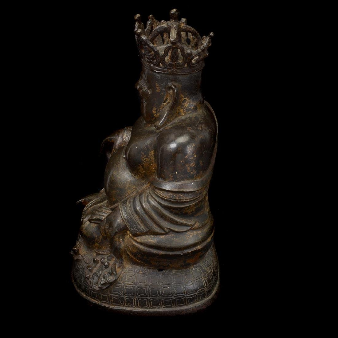 Bronze Figure of The Crowned Budai, Ming Dynasty - 4