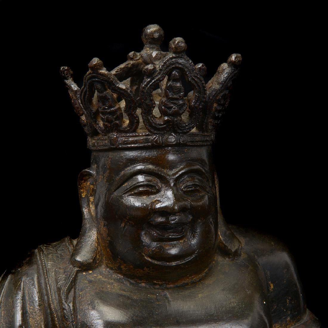 Bronze Figure of The Crowned Budai, Ming Dynasty - 5