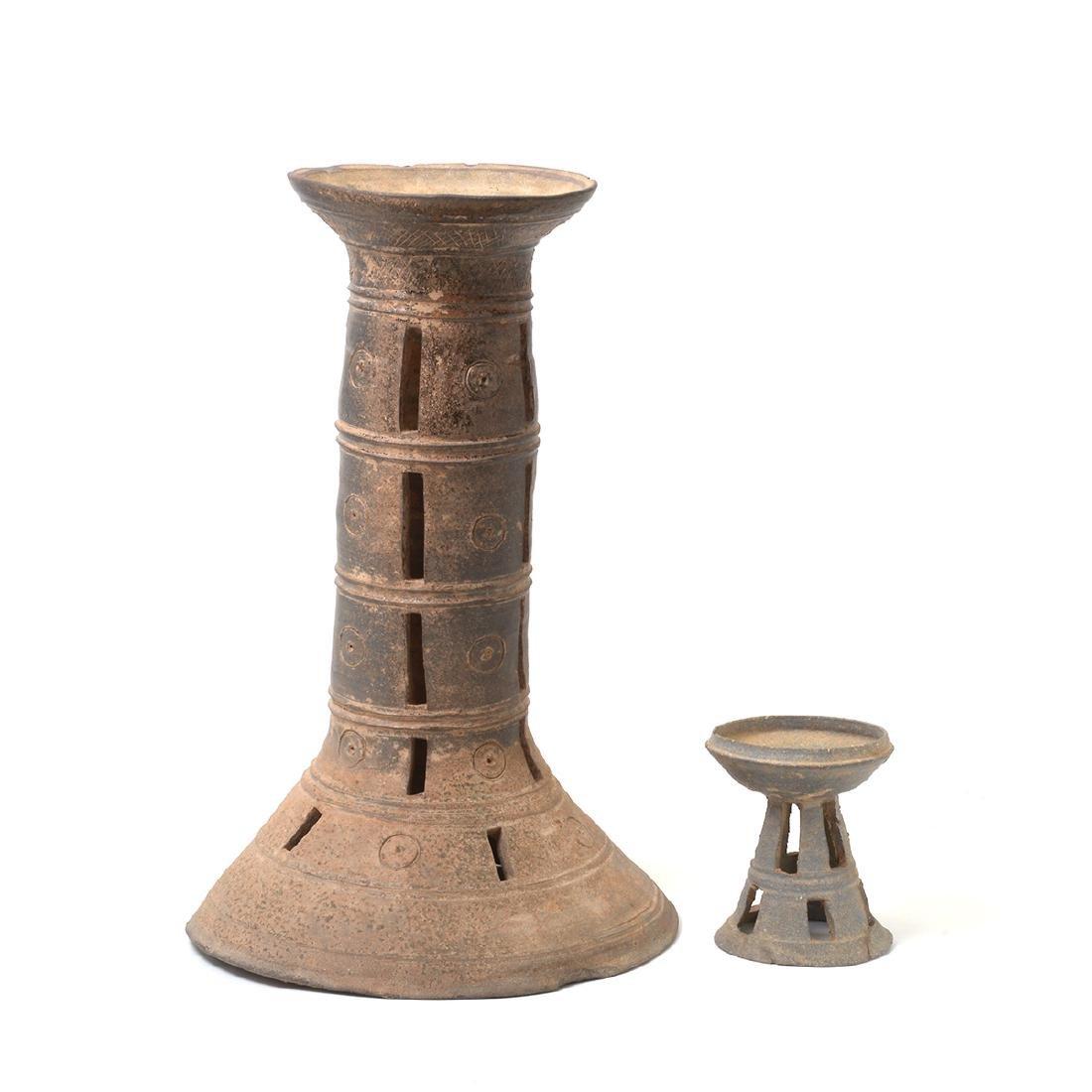 Two Korean Ceramic Stands, Silia Dynasty