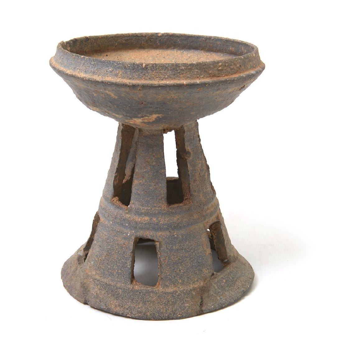Two Korean Ceramic Stands, Silia Dynasty - 3