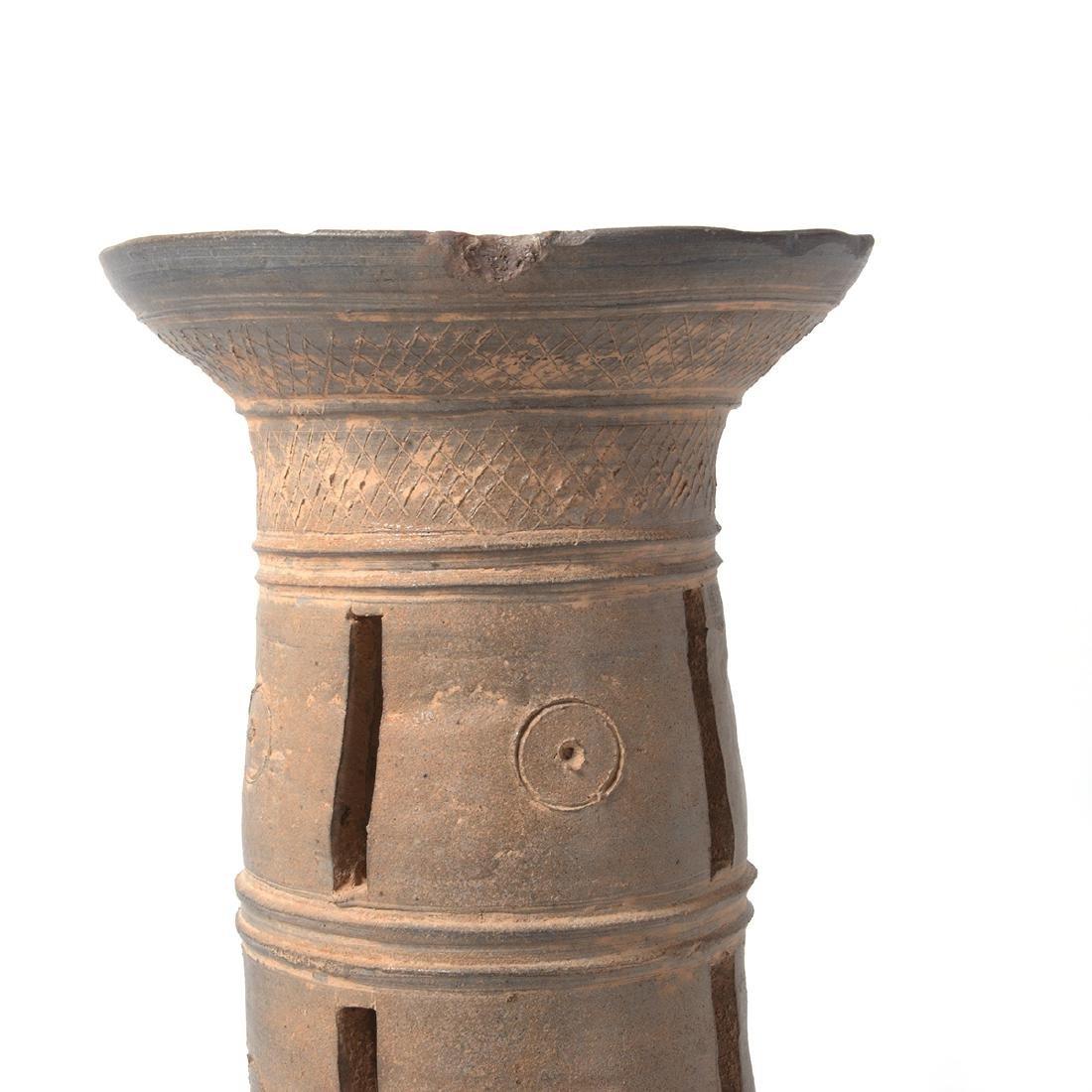 Two Korean Ceramic Stands, Silia Dynasty - 4
