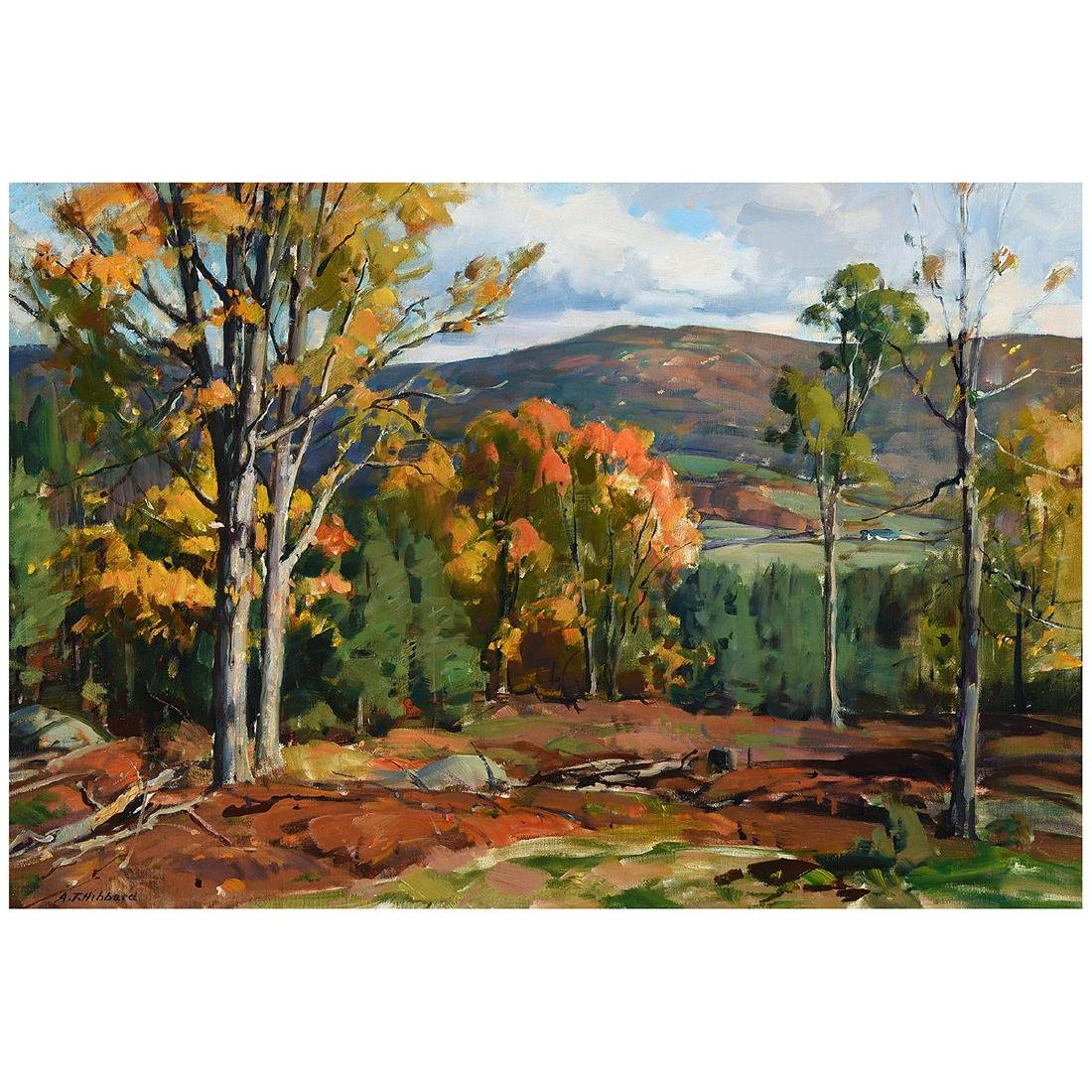 """Aldro Hibbard """"Fall Landscape"""" oil on canvas"""