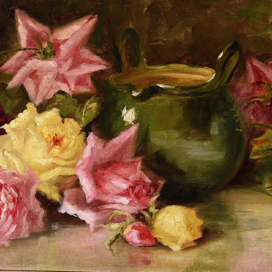 """Frances Mumaugh """"Still Life With Roses"""" oil on canvas - 3"""
