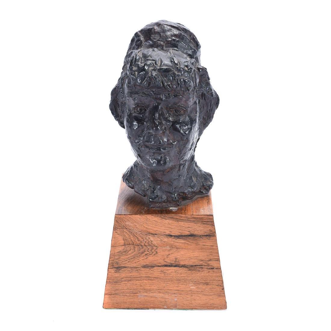 """Chaim Gross """"Bust of Woman"""" bronze"""