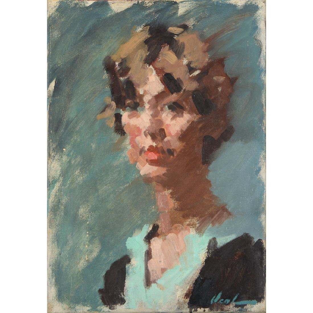 """Hayward Veal """"Portrait of a Woman"""" oil on canvas"""