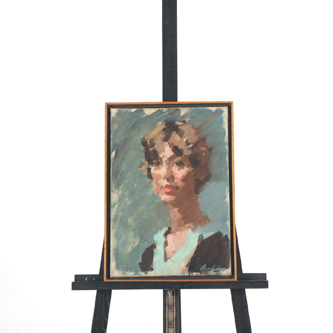 """Hayward Veal """"Portrait of a Woman"""" oil on canvas - 5"""