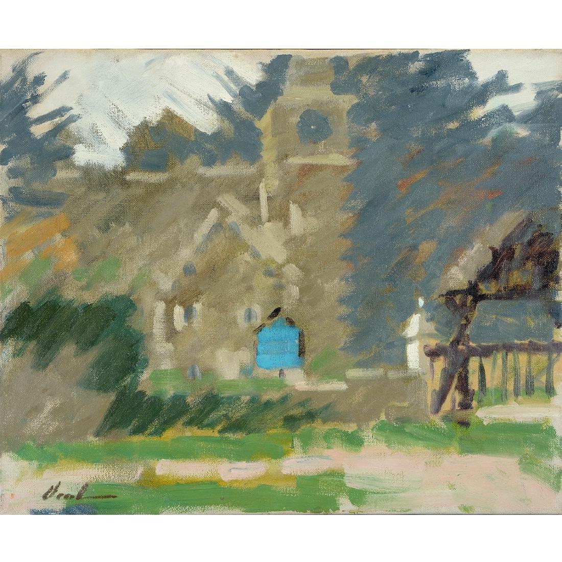 """Hayward Veal """"Church"""" oil on canvas"""