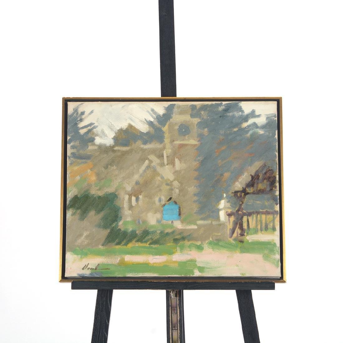 """Hayward Veal """"Church"""" oil on canvas - 7"""