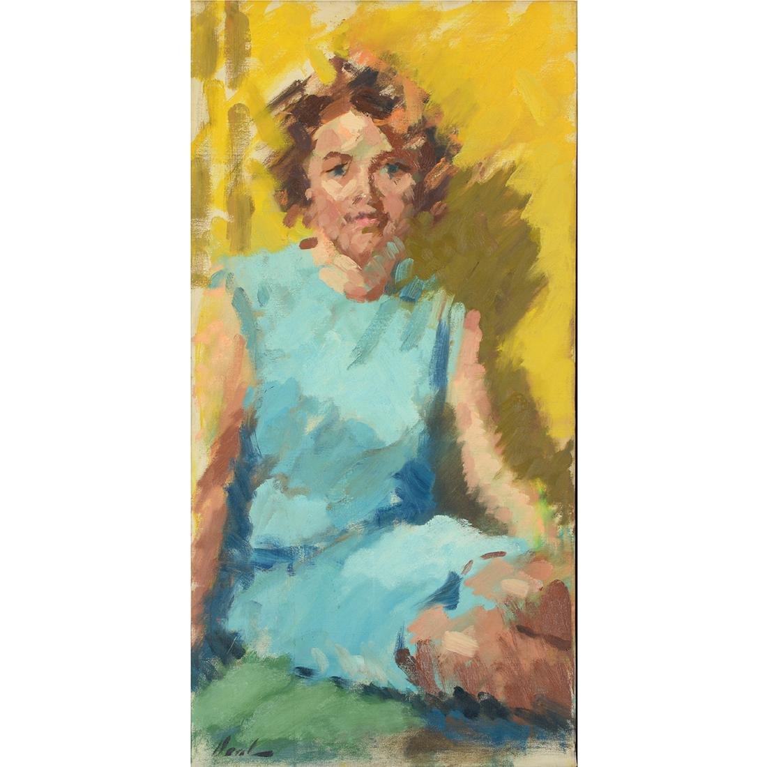 """Hayward Veal """"D'Pharr: the Artist"""" oil on canvas"""