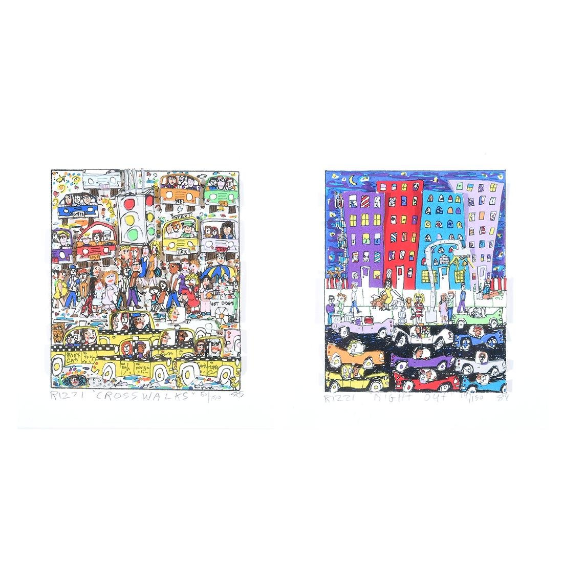 "James Rizzi ""Crosswalks"" and ""Night Out"" mixed media"