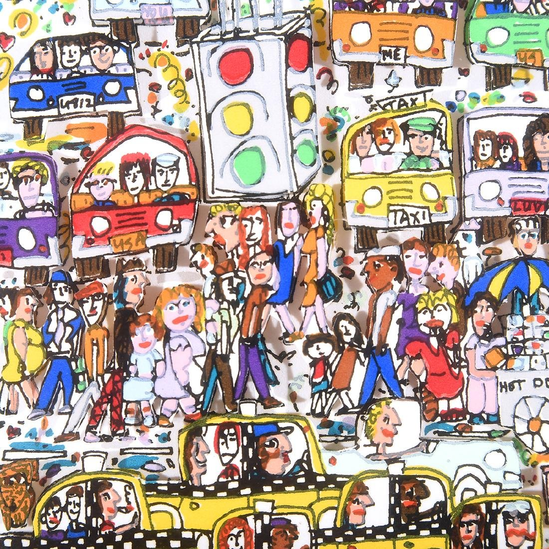 "James Rizzi ""Crosswalks"" and ""Night Out"" mixed media - 3"
