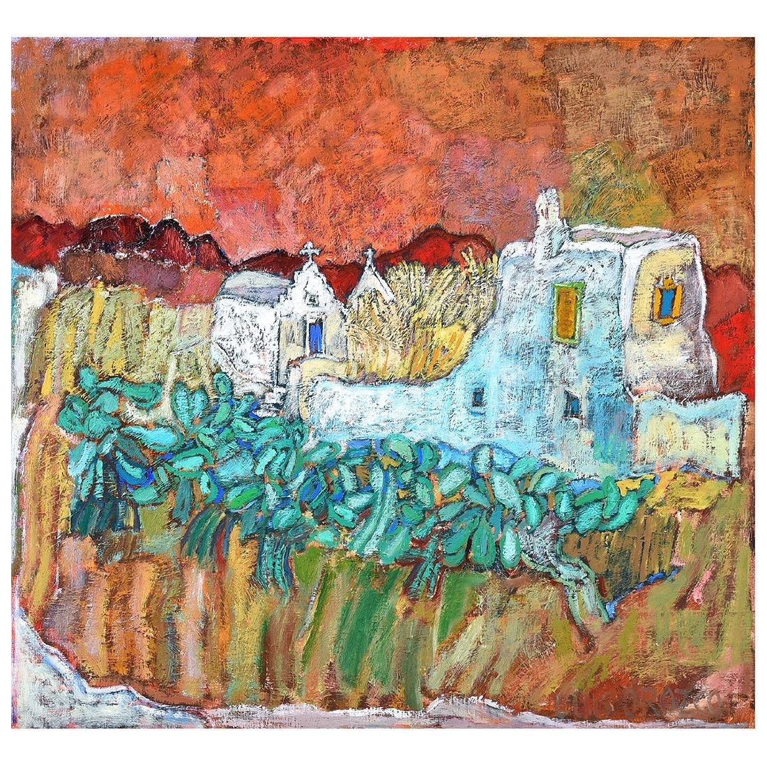 "Luis Orozco ""Village"" oil on canvas"