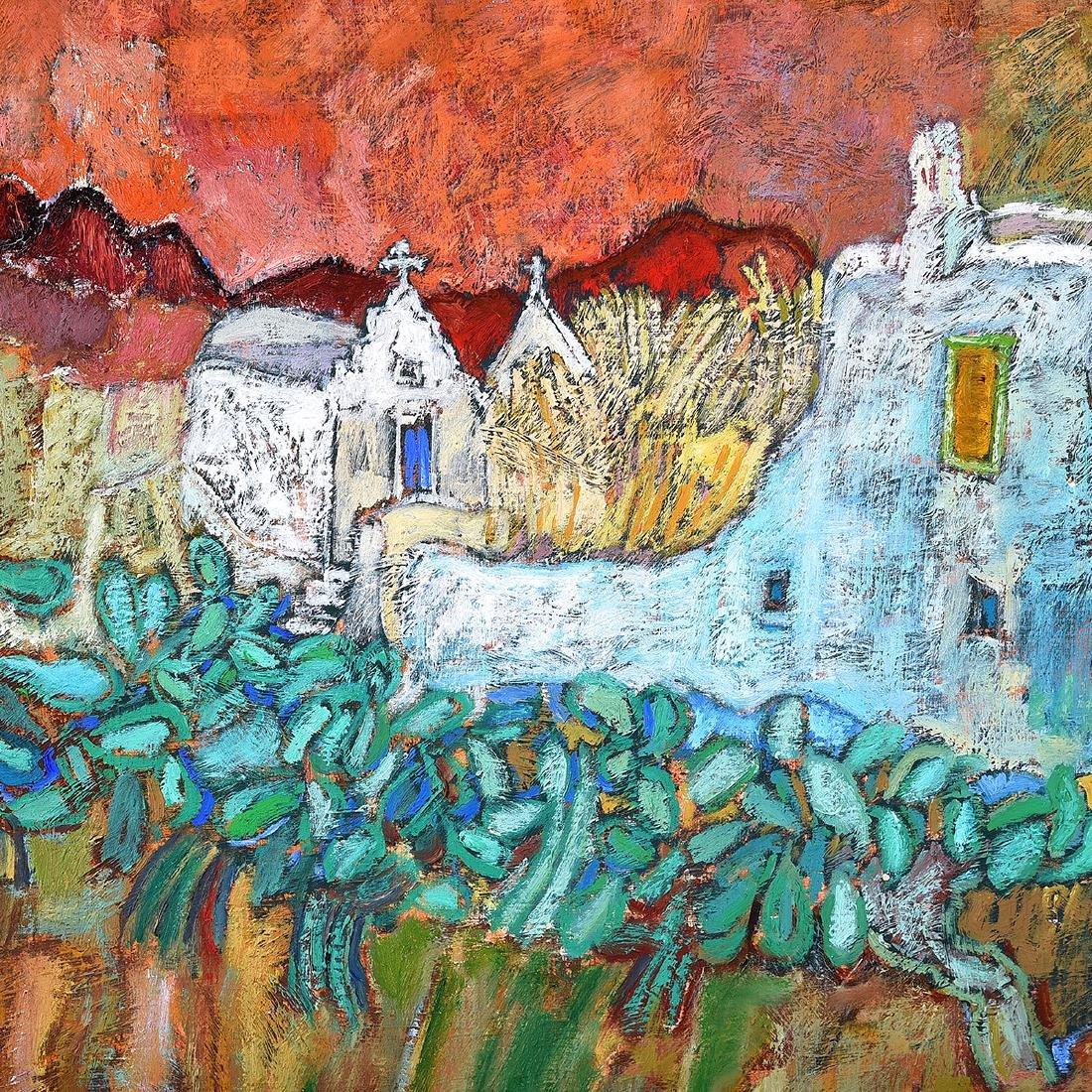 "Luis Orozco ""Village"" oil on canvas - 3"