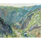 """Charles Movalli """"Canyon"""" oil on canvas"""