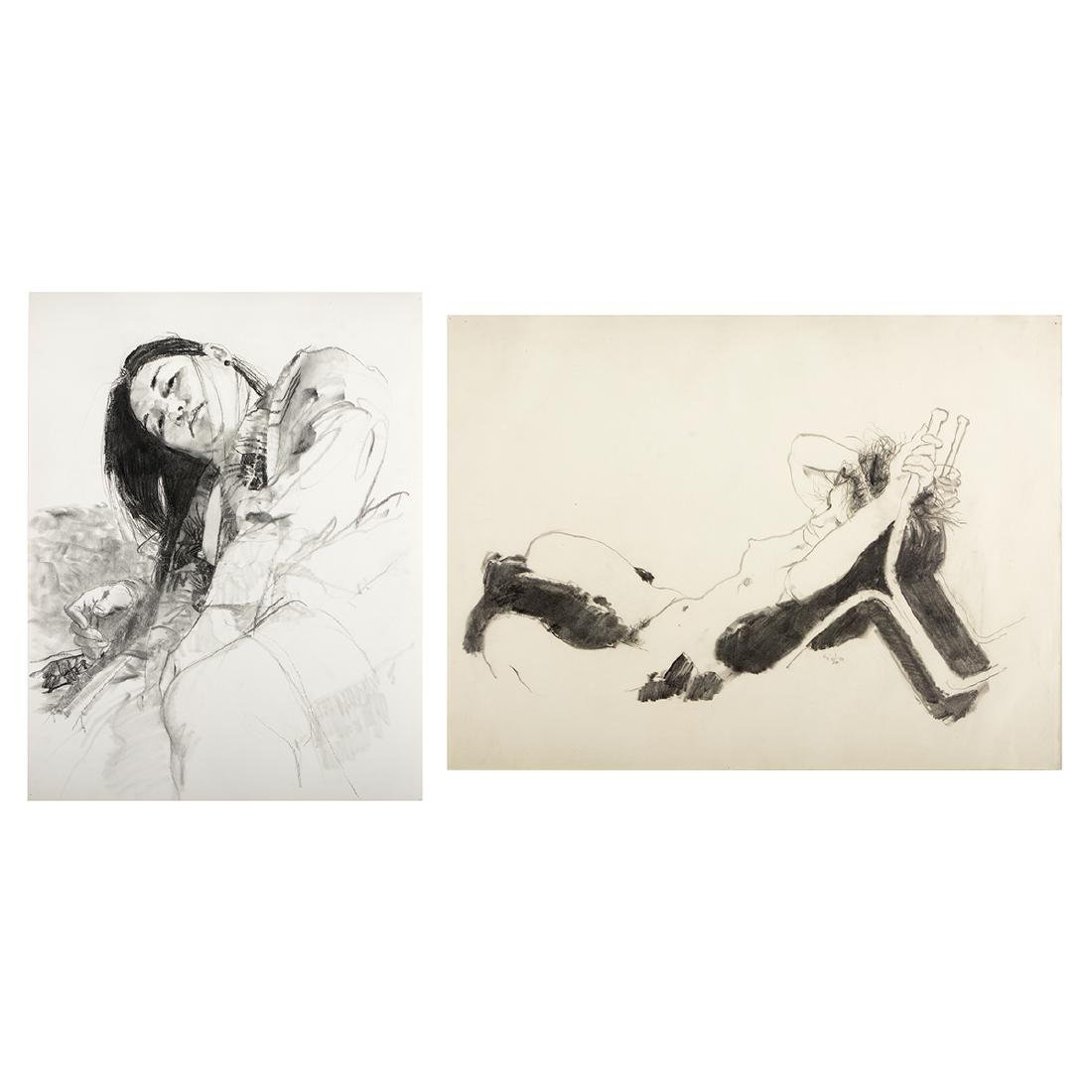 "Jerald Silva 2 ""Female figures"" graphite and wash"