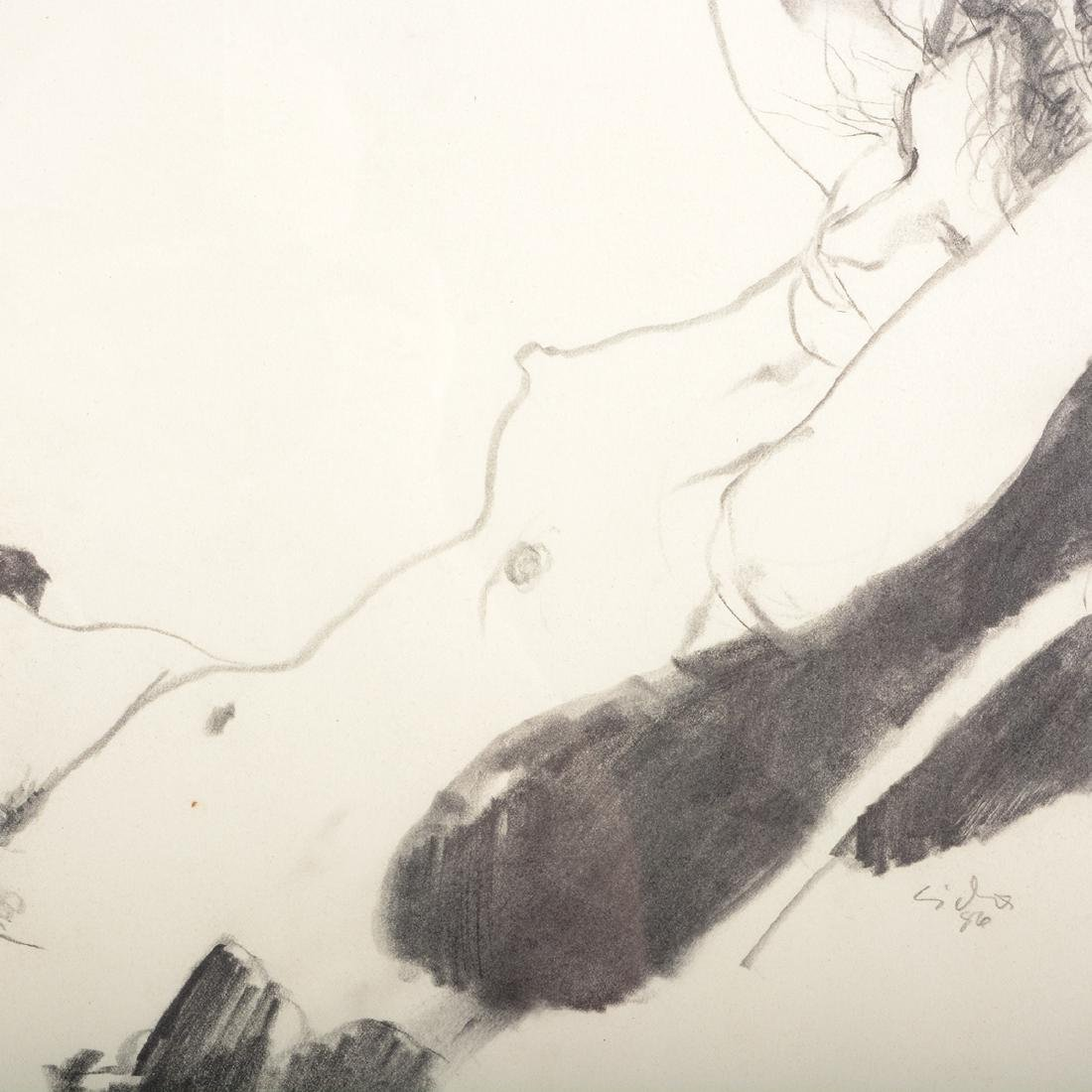 "Jerald Silva 2 ""Female figures"" graphite and wash - 8"