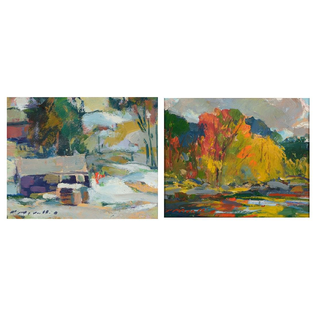 "Charles Movalli ""Winter Landscape"" and ""Autumn"