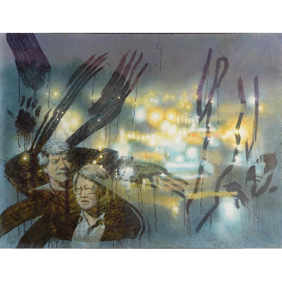 "Jerald Silva ""Figures in the window at night"""