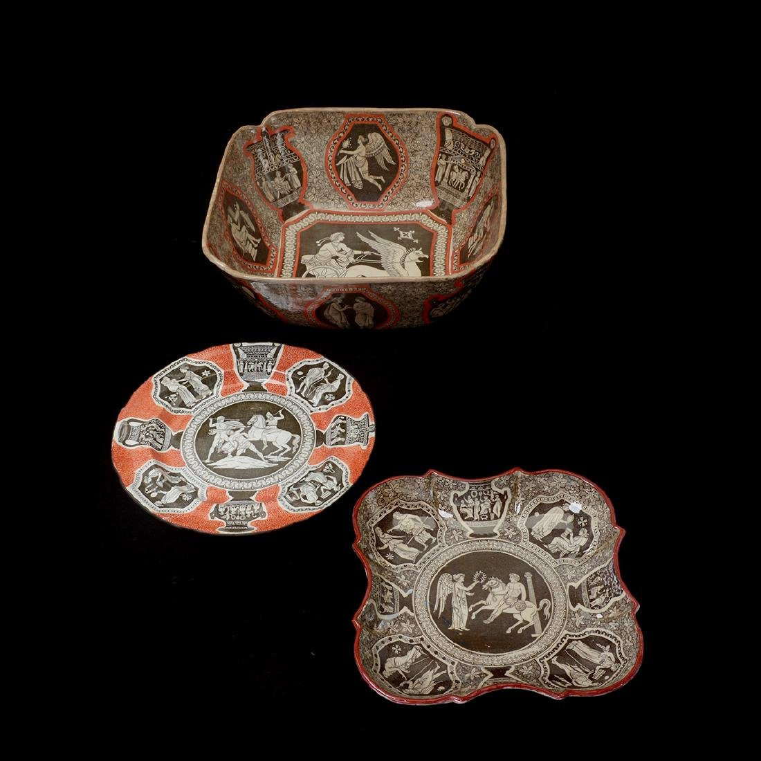 "Three Spode or Copeland ""Etruscan"" Serving Dishes,"