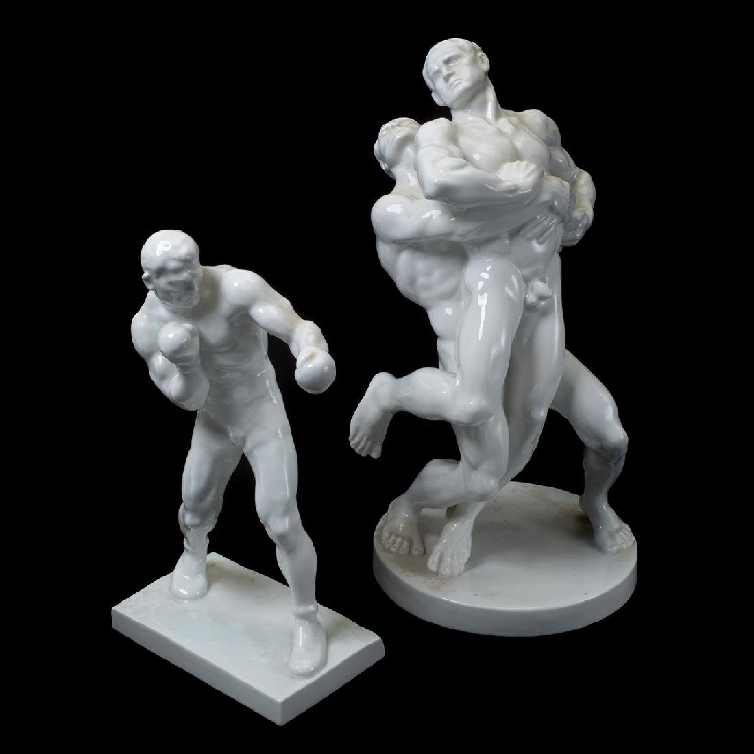 Herend Blanc de Chine Wrestlers and Boxer