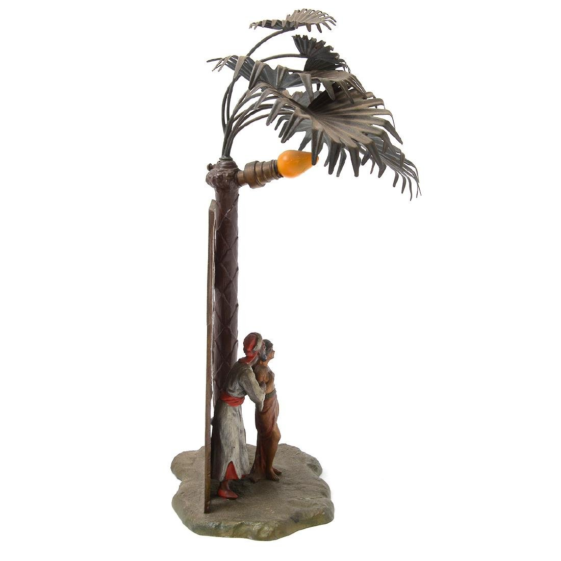 Austrian Cold-Painted Metal Figural Lamp in Form of - 3